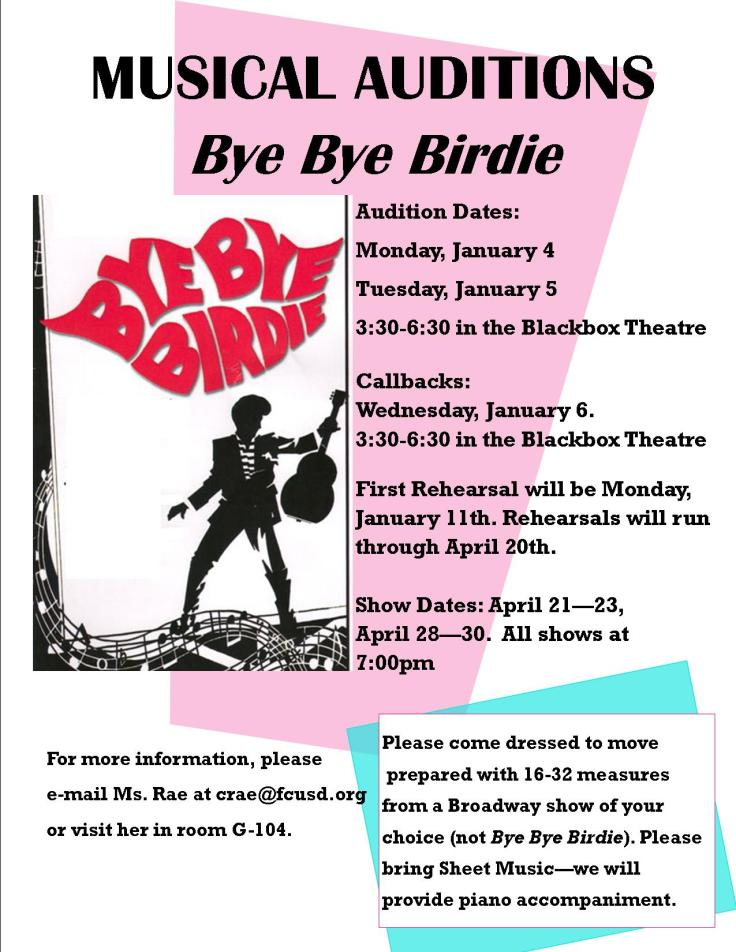 Bye Bye Birdie Audition Announcement